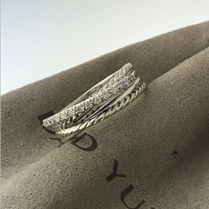 🌼DAVID YURMAN Silver Crossover Cable Diamond Pave
